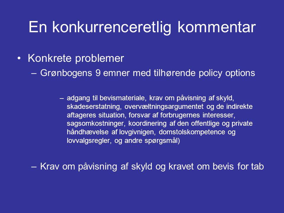 En konkurrenceretlig kommentar •Konkrete problemer –Grønbogens 9 emner med tilhørende policy options –adgang til bevismateriale, krav om påvisning af skyld, skadeserstatning, overvæltningsargumentet og de indirekte aftageres situation, forsvar af forbrugernes interesser, sagsomkostninger, koordinering af den offentlige og private håndhævelse af lovgivnigen, domstolskompetence og lovvalgsregler, og andre spørgsmål) –Krav om påvisning af skyld og kravet om bevis for tab