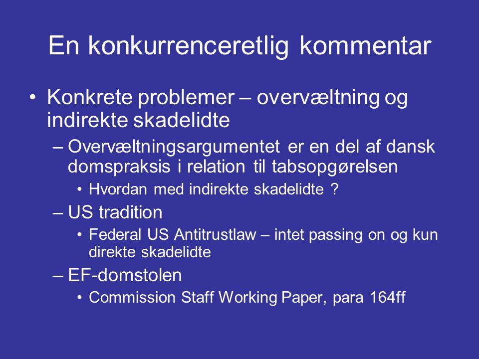 En konkurrenceretlig kommentar •Konkrete problemer – overvæltning og indirekte skadelidte –Overvæltningsargumentet er en del af dansk domspraksis i relation til tabsopgørelsen •Hvordan med indirekte skadelidte .