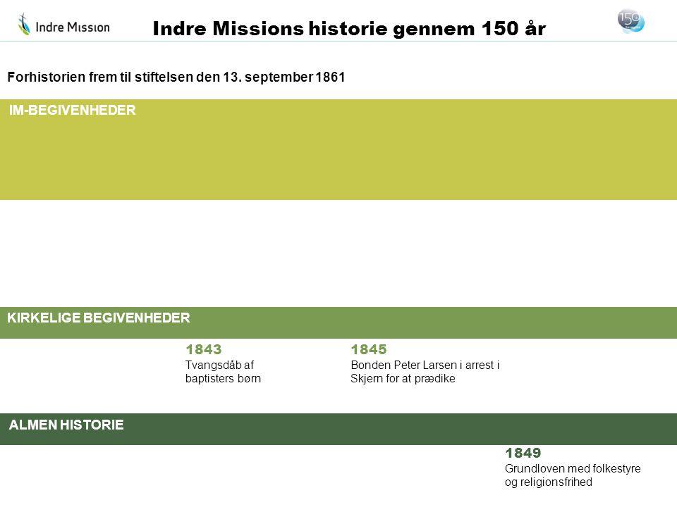 IM-BEGIVENHEDER KIRKELIGE BEGIVENHEDER ALMEN HISTORIE Indre Missions historie gennem 150 år Forhistorien frem til stiftelsen den 13. september 1861 18