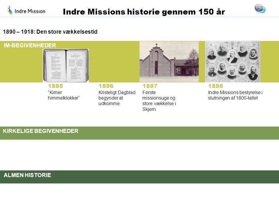IM-BEGIVENHEDER KIRKELIGE BEGIVENHEDER ALMEN HISTORIE Indre Missions historie gennem 150 år 1896 Kristeligt Dagblad begynder at udkomme 1890 – 1918: D