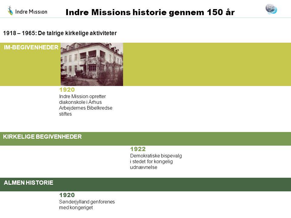 IM-BEGIVENHEDER KIRKELIGE BEGIVENHEDER ALMEN HISTORIE Indre Missions historie gennem 150 år 1920 Indre Mission opretter diakonskole i Århus Arbejderne