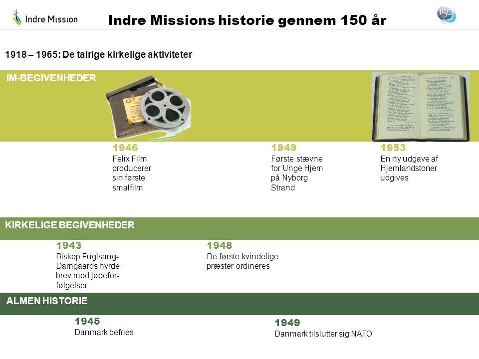 IM-BEGIVENHEDER KIRKELIGE BEGIVENHEDER ALMEN HISTORIE Indre Missions historie gennem 150 år 1946 Felix Film producerer sin første smalfilm 1918 – 1965