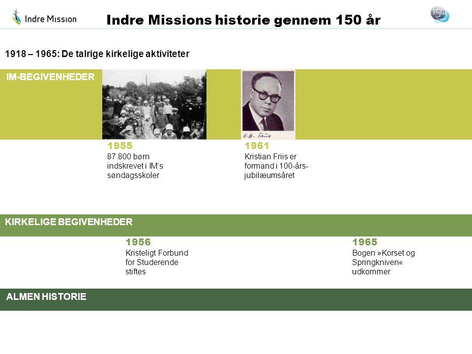 IM-BEGIVENHEDER KIRKELIGE BEGIVENHEDER ALMEN HISTORIE Indre Missions historie gennem 150 år 1955 87.800 børn indskrevet i IM's søndagsskoler 1918 – 19