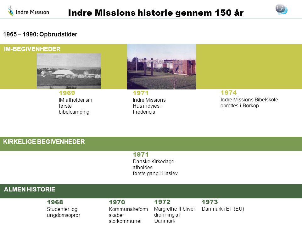 IM-BEGIVENHEDER KIRKELIGE BEGIVENHEDER ALMEN HISTORIE Indre Missions historie gennem 150 år 1969 IM afholder sin første bibelcamping 1965 – 1990: Opbr