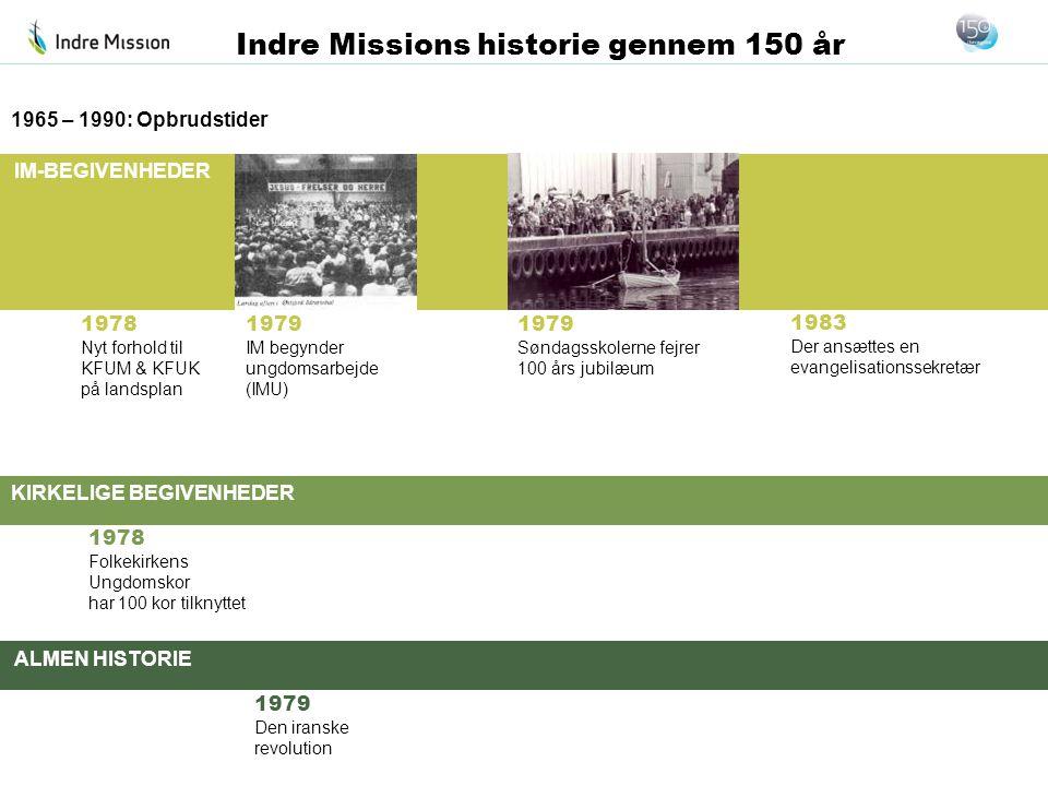 IM-BEGIVENHEDER KIRKELIGE BEGIVENHEDER ALMEN HISTORIE Indre Missions historie gennem 150 år 1978 Nyt forhold til KFUM & KFUK på landsplan 1965 – 1990: