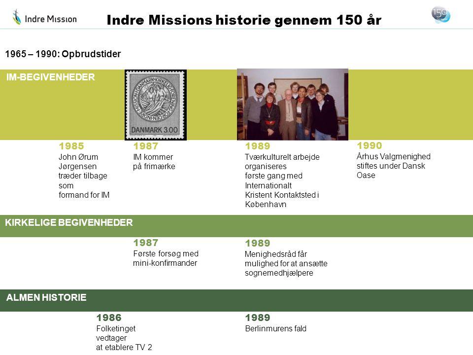 IM-BEGIVENHEDER KIRKELIGE BEGIVENHEDER ALMEN HISTORIE Indre Missions historie gennem 150 år 1985 John Ørum Jørgensen træder tilbage som formand for IM