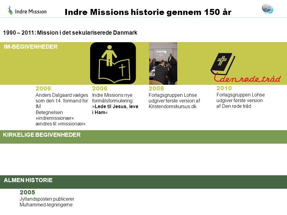 IM-BEGIVENHEDER KIRKELIGE BEGIVENHEDER ALMEN HISTORIE Indre Missions historie gennem 150 år 2006 Anders Dalgaard vælges som den 14. formand for IM Bet