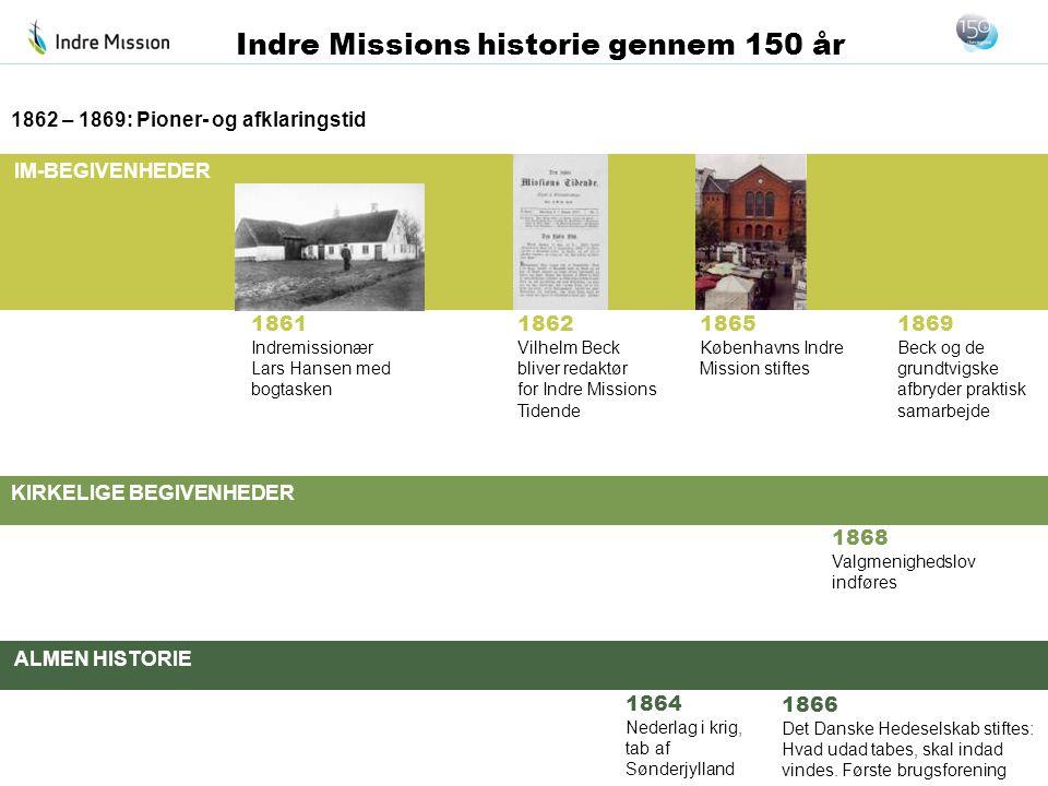 IM-BEGIVENHEDER KIRKELIGE BEGIVENHEDER ALMEN HISTORIE Indre Missions historie gennem 150 år 1868 Valgmenighedslov indføres 1862 – 1869: Pioner- og afk