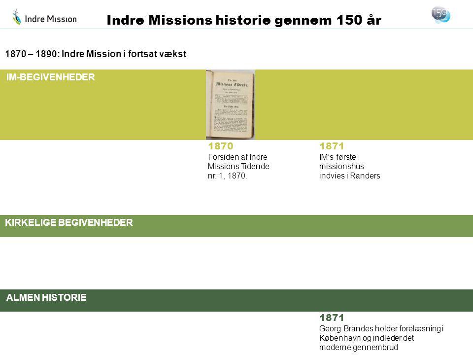 IM-BEGIVENHEDER KIRKELIGE BEGIVENHEDER ALMEN HISTORIE Indre Missions historie gennem 150 år 1870 – 1890: Indre Mission i fortsat vækst 1871 IM's først