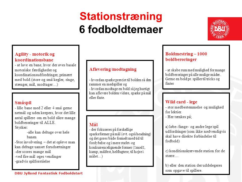 DBU Jylland Fantastisk Fodboldstart Stationstræning •Mange stationer = stor variation, kort tid på hver.