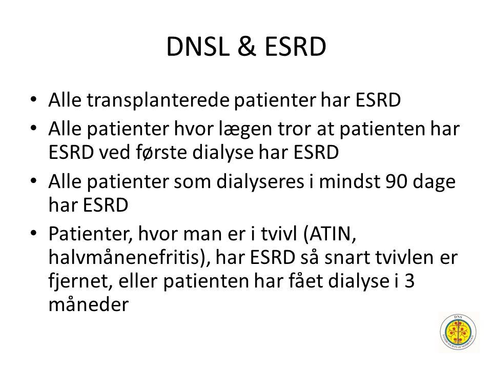 DNSL & ESRD • Alle transplanterede patienter har ESRD • Alle patienter hvor lægen tror at patienten har ESRD ved første dialyse har ESRD • Alle patien