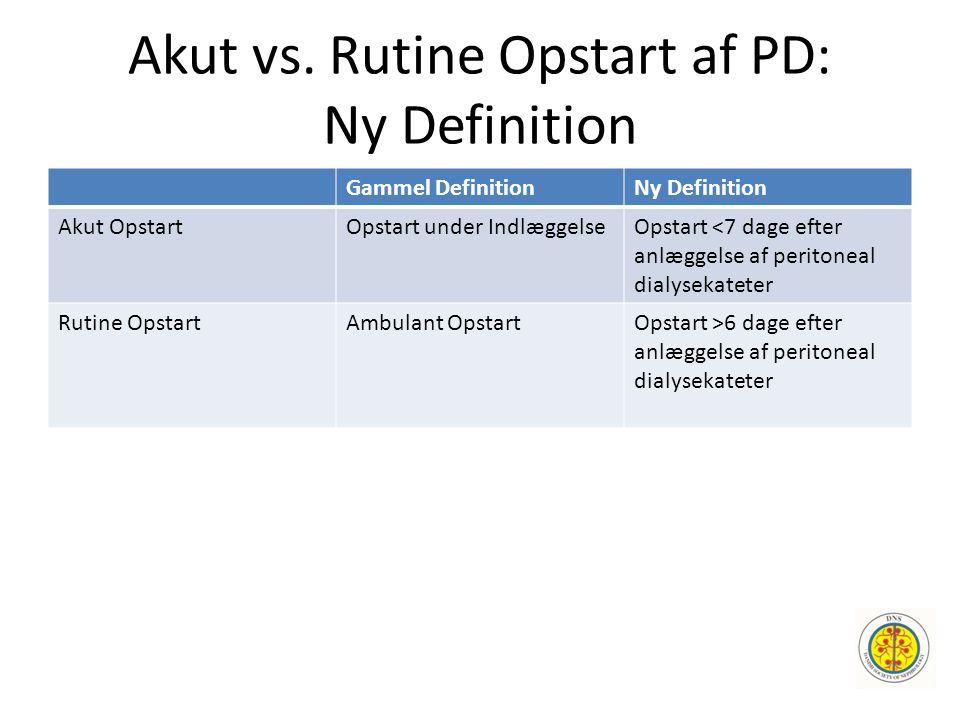 Akut vs. Rutine Opstart af PD: Ny Definition Gammel DefinitionNy Definition Akut OpstartOpstart under IndlæggelseOpstart <7 dage efter anlæggelse af p