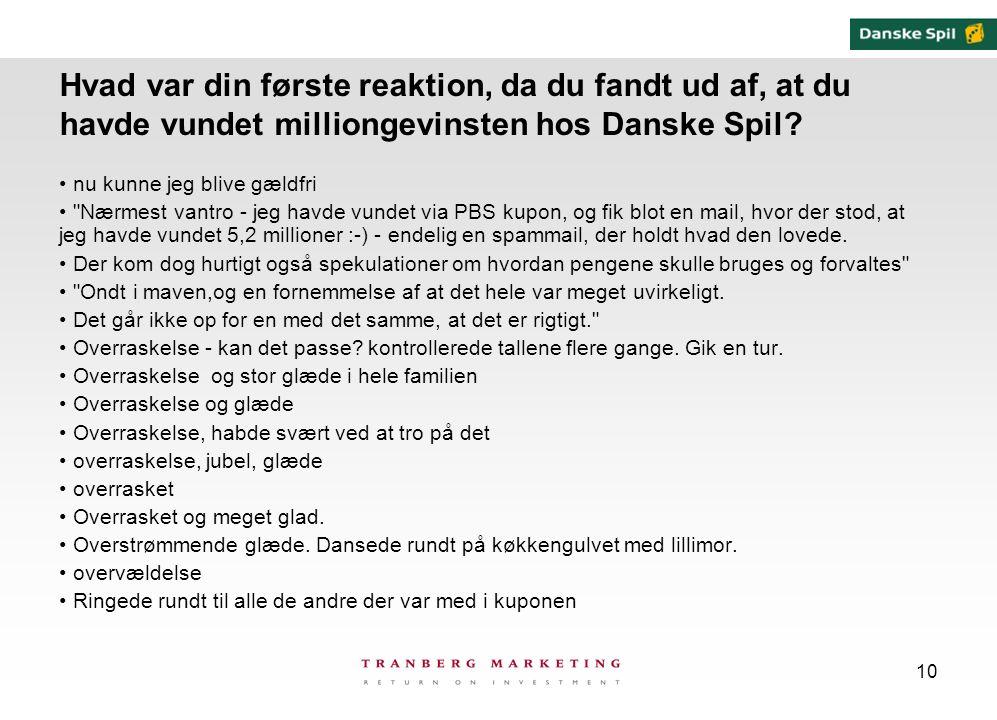 10 Hvad var din første reaktion, da du fandt ud af, at du havde vundet milliongevinsten hos Danske Spil.