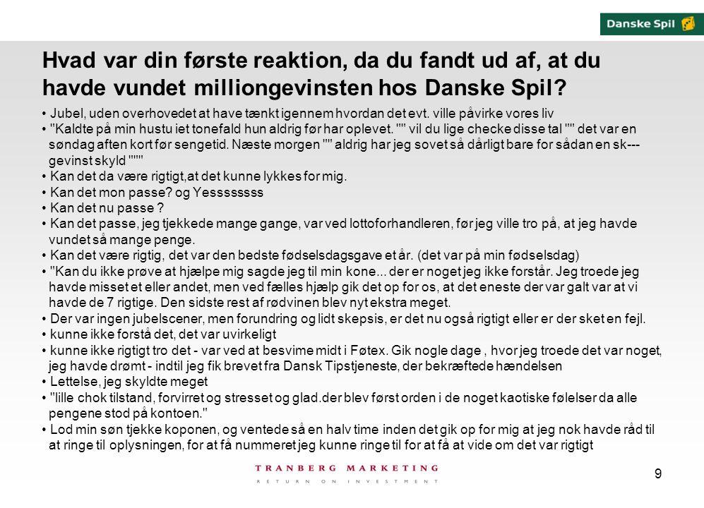9 Hvad var din første reaktion, da du fandt ud af, at du havde vundet milliongevinsten hos Danske Spil.