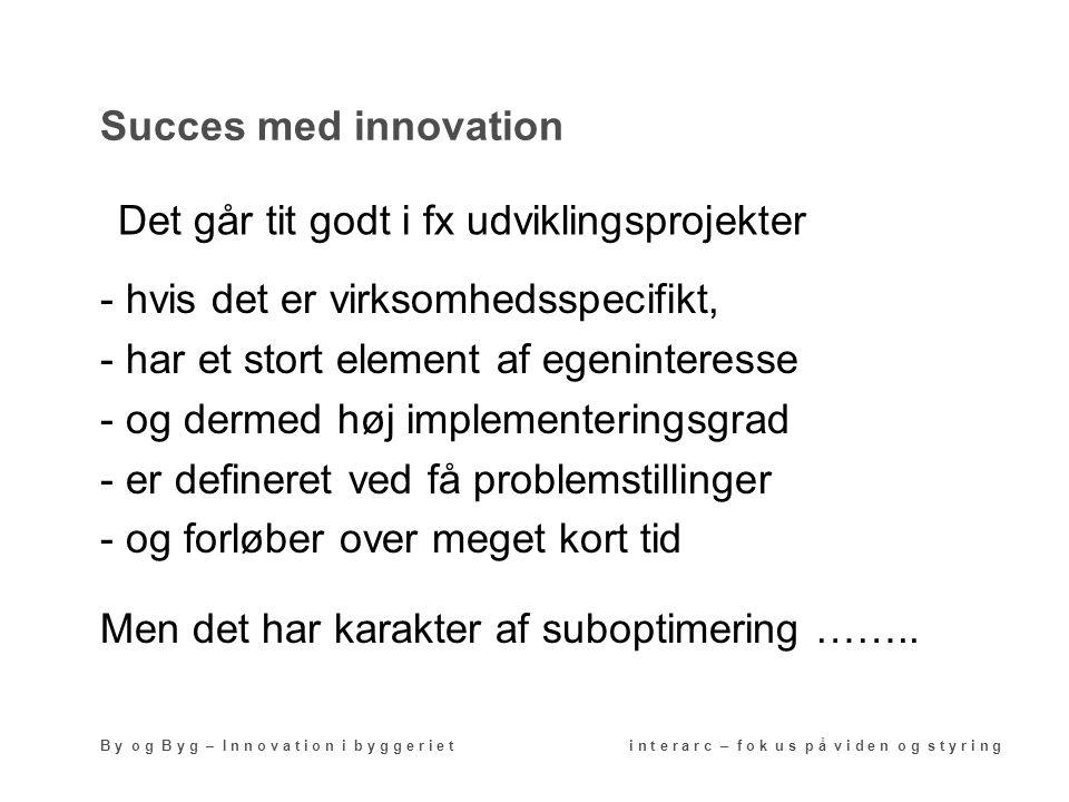 Succes med innovation B y o g B y g – I n n o v a t i o n i b y g g e r i e t i n t e r a r c – f o k u s p å v i d e n o g s t y r i n g - hvis det er virksomhedsspecifikt, - har et stort element af egeninteresse - og dermed høj implementeringsgrad - er defineret ved få problemstillinger - og forløber over meget kort tid Men det har karakter af suboptimering ……..