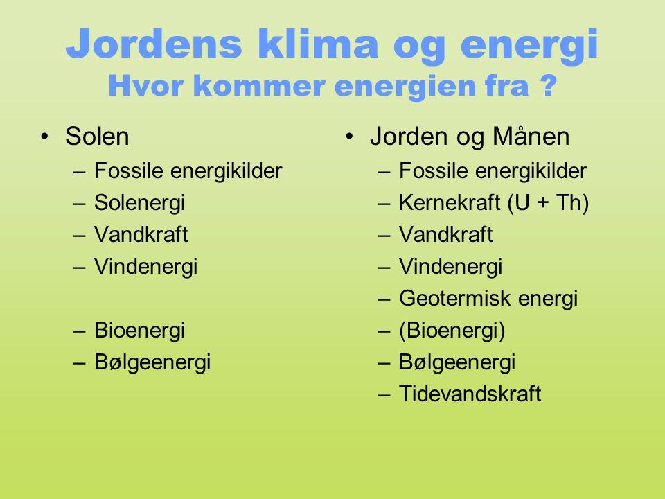 Jordens klima og energi Hvor kommer energien fra ? •Solen –Fossile energikilder –Solenergi –Vandkraft –Vindenergi –Bioenergi –Bølgeenergi •Jorden og M