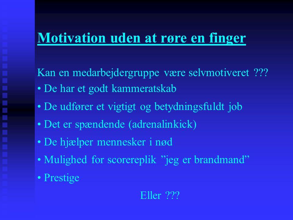 Motivation uden at røre en finger Kan en medarbejdergruppe være selvmotiveret ??? • De har et godt kammeratskab • De udfører et vigtigt og betydningsf