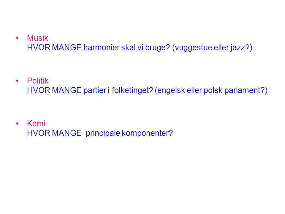 •Musik HVOR MANGE harmonier skal vi bruge? (vuggestue eller jazz?) •Politik HVOR MANGE partier i folketinget? (engelsk eller polsk parlament?) •Kemi H