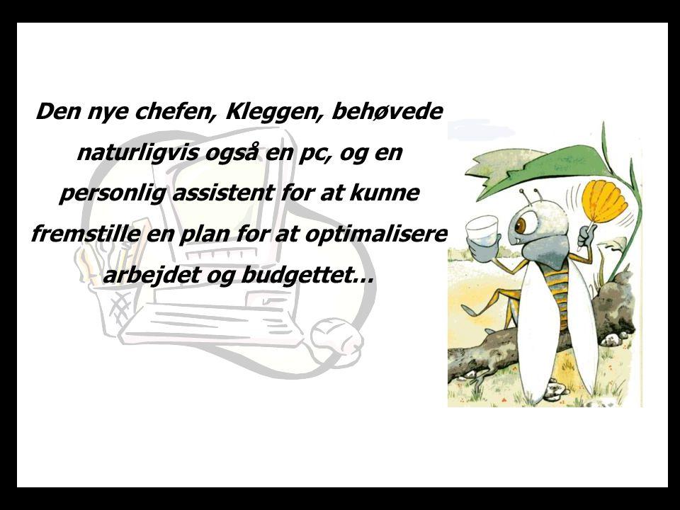 Den nye chefen, Kleggen, behøvede naturligvis også en pc, og en personlig assistent for at kunne fremstille en plan for at optimalisere arbejdet og budgettet…