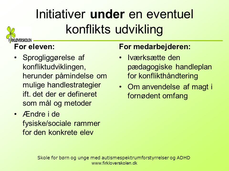 www.firkloverskolen.dk Skole for børn og unge med autismespektrumforstyrrelser og ADHD Initiativer under en eventuel konflikts udvikling For eleven: •