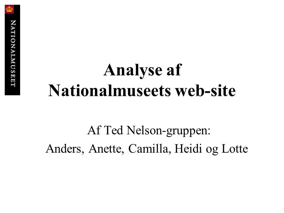 Analyse af Nationalmuseets web-site Af Ted Nelson-gruppen: Anders, Anette, Camilla, Heidi og Lotte