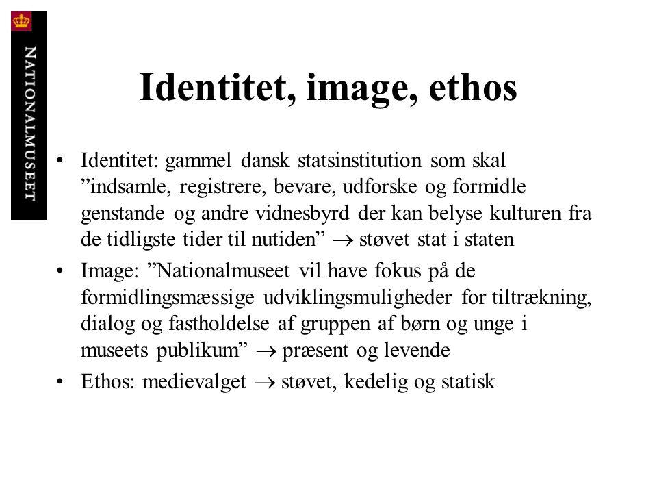 """Identitet, image, ethos • Identitet: gammel dansk statsinstitution som skal """"indsamle, registrere, bevare, udforske og formidle genstande og andre vid"""