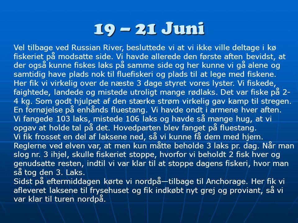 19 – 21 Juni Vel tilbage ved Russian River, besluttede vi at vi ikke ville deltage i kø fiskeriet på modsatte side.