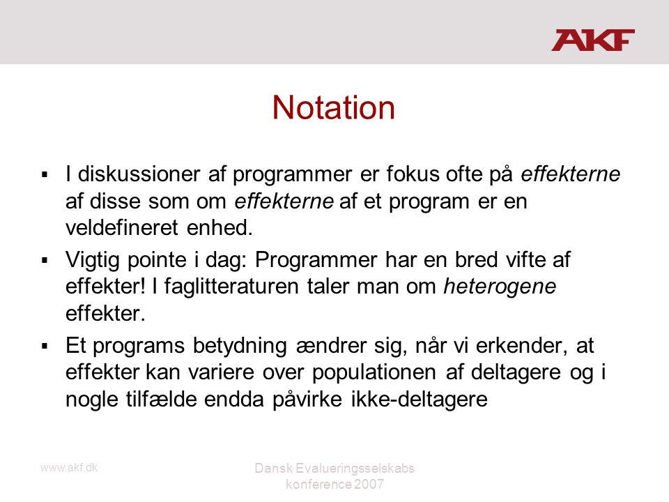 www.akf.dk Dansk Evalueringsselskabs konference 2007 Notation  I diskussioner af programmer er fokus ofte på effekterne af disse som om effekterne af