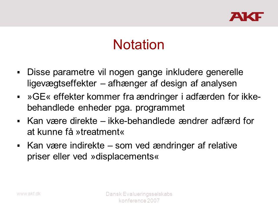 www.akf.dk Dansk Evalueringsselskabs konference 2007 Notation  Disse parametre vil nogen gange inkludere generelle ligevægtseffekter – afhænger af de