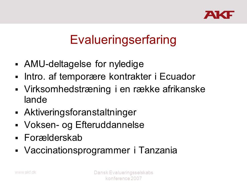 www.akf.dk Dansk Evalueringsselskabs konference 2007 Evalueringserfaring  AMU-deltagelse for nyledige  Intro. af temporære kontrakter i Ecuador  Vi