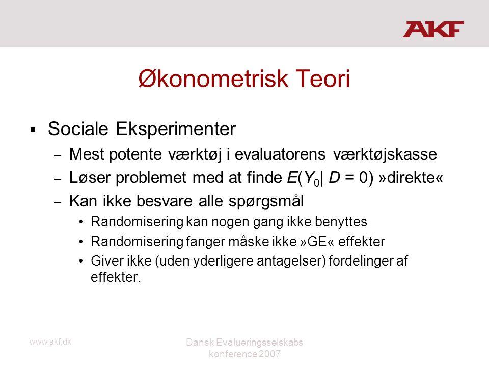 www.akf.dk Dansk Evalueringsselskabs konference 2007 Økonometrisk Teori  Sociale Eksperimenter – Mest potente værktøj i evaluatorens værktøjskasse –