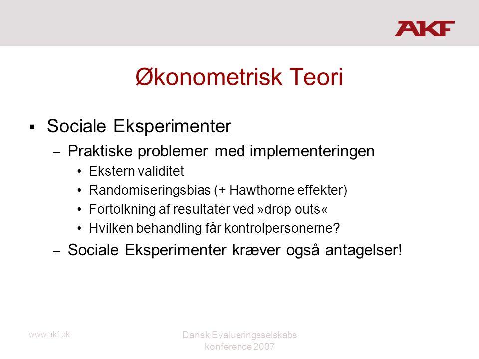 www.akf.dk Dansk Evalueringsselskabs konference 2007 Økonometrisk Teori  Sociale Eksperimenter – Praktiske problemer med implementeringen •Ekstern va