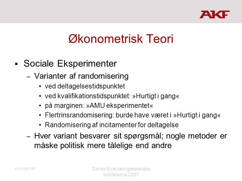 www.akf.dk Dansk Evalueringsselskabs konference 2007 Økonometrisk Teori  Sociale Eksperimenter – Varianter af randomisering •ved deltagelsestidspunkt