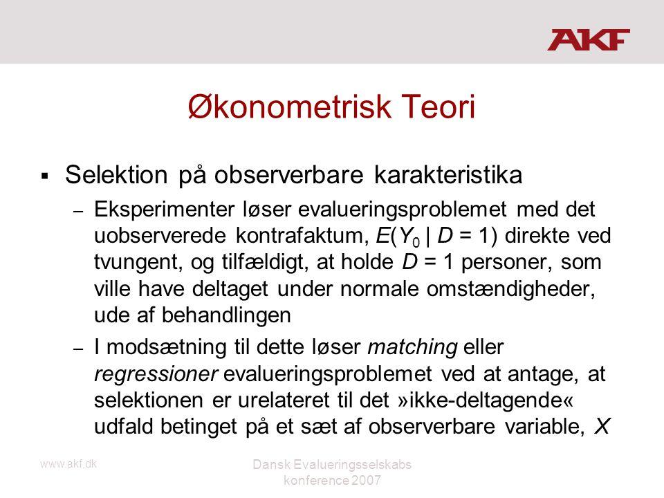 www.akf.dk Dansk Evalueringsselskabs konference 2007 Økonometrisk Teori  Selektion på observerbare karakteristika – Eksperimenter løser evalueringspr