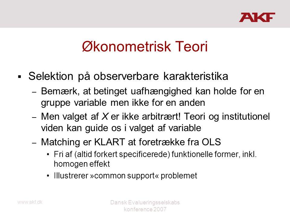 www.akf.dk Dansk Evalueringsselskabs konference 2007 Økonometrisk Teori  Selektion på observerbare karakteristika – Bemærk, at betinget uafhængighed