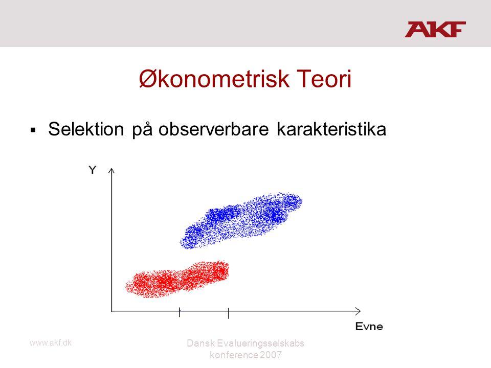 www.akf.dk Dansk Evalueringsselskabs konference 2007 Økonometrisk Teori  Selektion på observerbare karakteristika