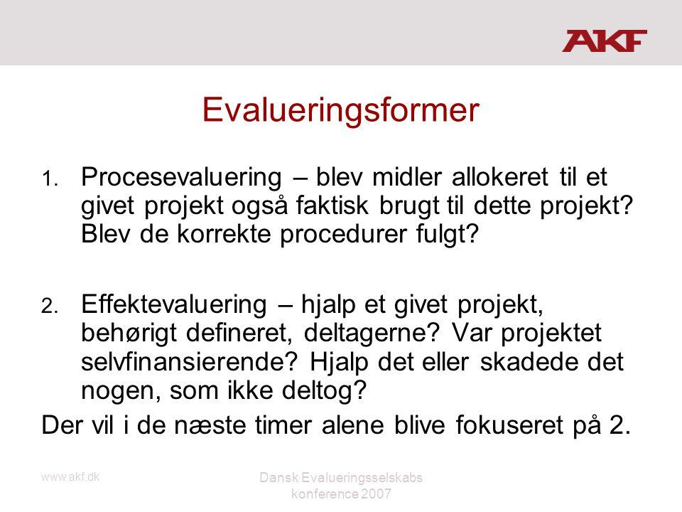 www.akf.dk Dansk Evalueringsselskabs konference 2007 Evalueringsformer 1. Procesevaluering – blev midler allokeret til et givet projekt også faktisk b