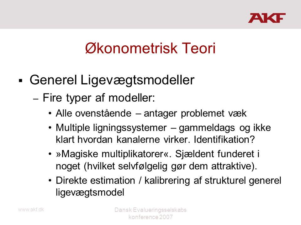 www.akf.dk Dansk Evalueringsselskabs konference 2007 Økonometrisk Teori  Generel Ligevægtsmodeller – Fire typer af modeller: •Alle ovenstående – anta