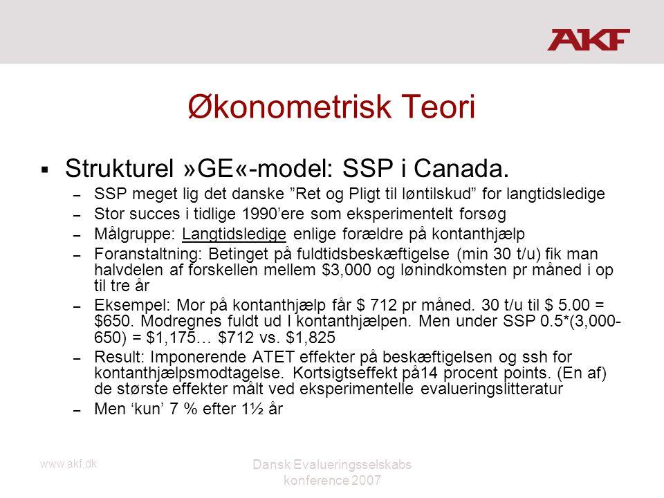 """www.akf.dk Dansk Evalueringsselskabs konference 2007 Økonometrisk Teori  Strukturel »GE«-model: SSP i Canada. – SSP meget lig det danske """"Ret og Plig"""