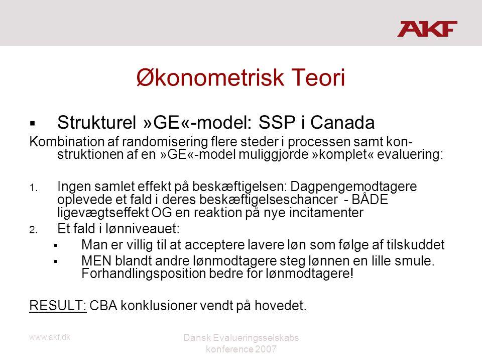 www.akf.dk Dansk Evalueringsselskabs konference 2007 Økonometrisk Teori  Strukturel »GE«-model: SSP i Canada Kombination af randomisering flere stede
