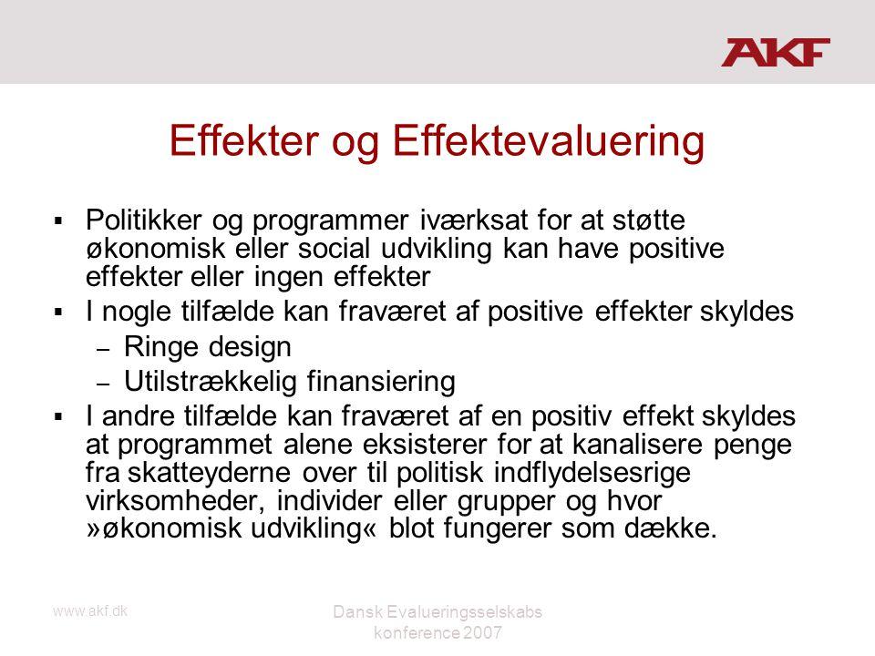 www.akf.dk Dansk Evalueringsselskabs konference 2007 Effekter og Effektevaluering  Politikker og programmer iværksat for at støtte økonomisk eller so