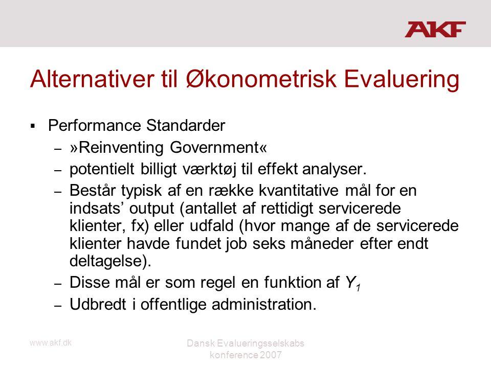 www.akf.dk Dansk Evalueringsselskabs konference 2007 Alternativer til Økonometrisk Evaluering  Performance Standarder – »Reinventing Government« – po