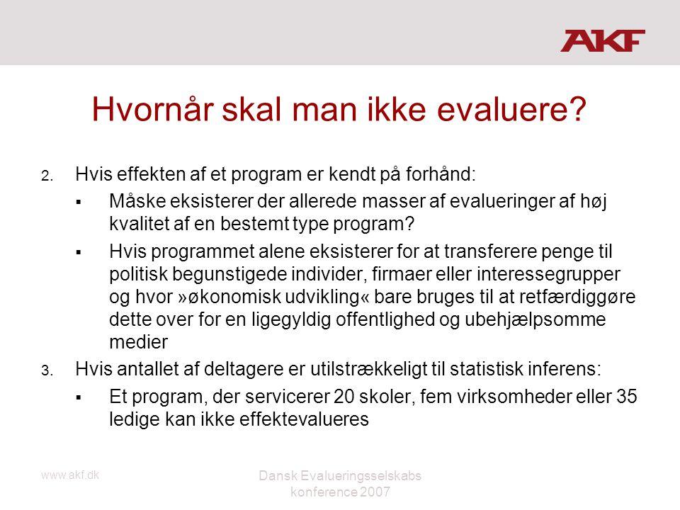 www.akf.dk Dansk Evalueringsselskabs konference 2007 Hvornår skal man ikke evaluere? 2. Hvis effekten af et program er kendt på forhånd:  Måske eksis