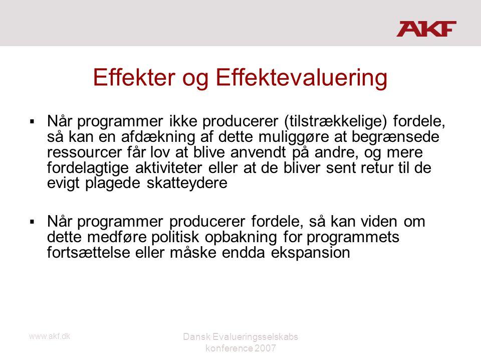 www.akf.dk Dansk Evalueringsselskabs konference 2007 Effekter og Effektevaluering  Når programmer ikke producerer (tilstrækkelige) fordele, så kan en