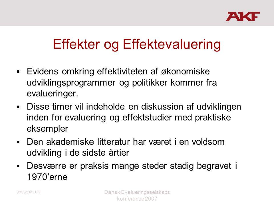 www.akf.dk Dansk Evalueringsselskabs konference 2007 Effekter og Effektevaluering  Evidens omkring effektiviteten af økonomiske udviklingsprogrammer