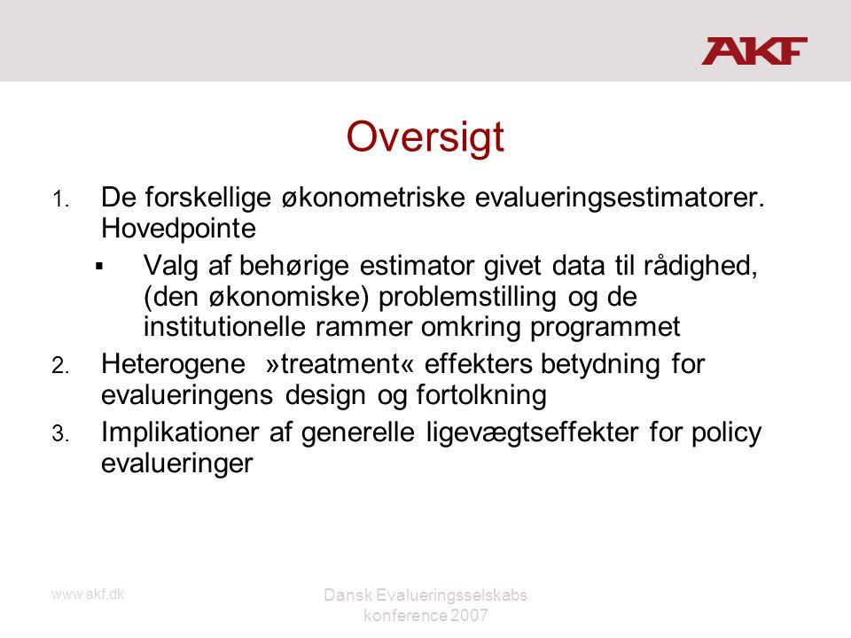 www.akf.dk Dansk Evalueringsselskabs konference 2007 Oversigt 1. De forskellige økonometriske evalueringsestimatorer. Hovedpointe  Valg af behørige e