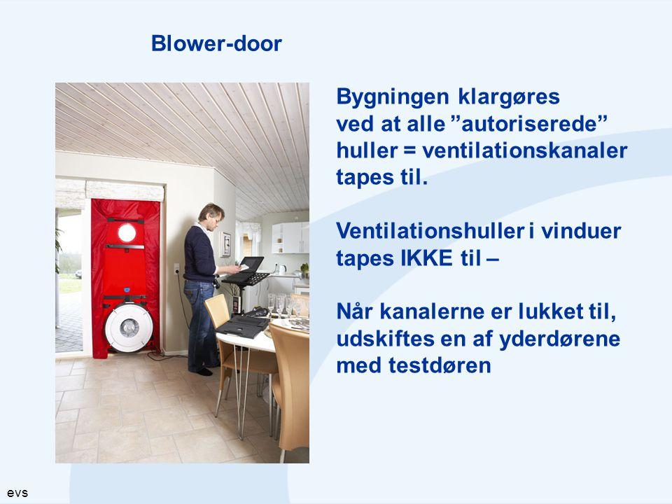"""evs Blower-door Bygningen klargøres ved at alle """"autoriserede"""" huller = ventilationskanaler tapes til. Ventilationshuller i vinduer tapes IKKE til – N"""
