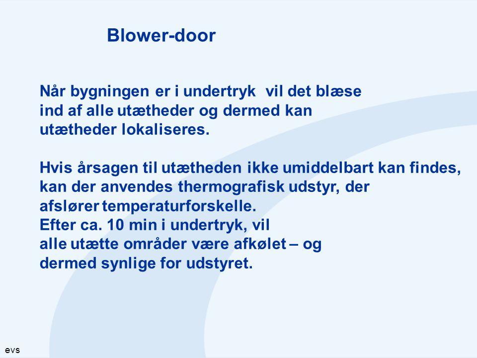 evs Blower-door Når bygningen er i undertryk vil det blæse ind af alle utætheder og dermed kan utætheder lokaliseres. Hvis årsagen til utætheden ikke
