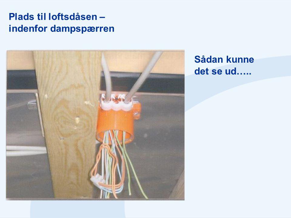 Plads til loftsdåsen – indenfor dampspærren Sådan kunne det se ud…..