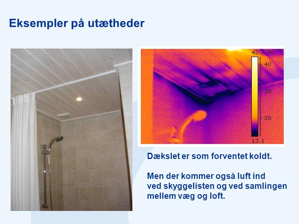 Eksempler på utætheder Dækslet er som forventet koldt. Men der kommer også luft ind ved skyggelisten og ved samlingen mellem væg og loft.